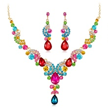 Jewelry Sets for Women Crystal Rhinestone Colorful Elegant luxury fashion Wedding Bridal Necklace Earrings Dropship