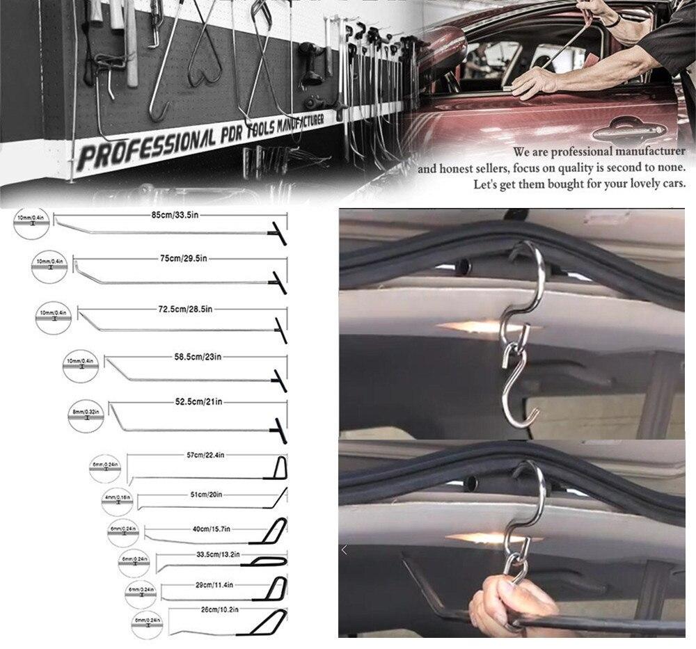 PDR Gancio Strumenti Asta di Spinta Nero Auto Piede di Porco Paintless Dent Repair Kit PDR Dent Rimozione Ding Grandine Puller Set Herramentas