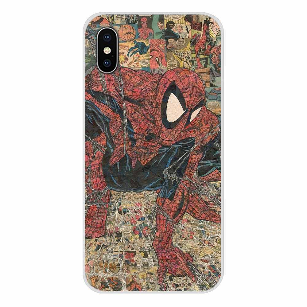 Marvel Comics Avengers süper kahraman kolajlar TPU çanta durumda Apple iPhone X XR XS MAX 4 4S 5 5S 5C SE 6 6S 7 8 artı ipod touch 5 6