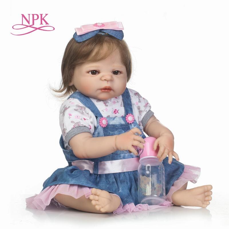 NPK 2255cm Bebe reborn full silicone reborn baby girl dolls toys child bathe toys bonecas Girls Birthday Christmas Gift