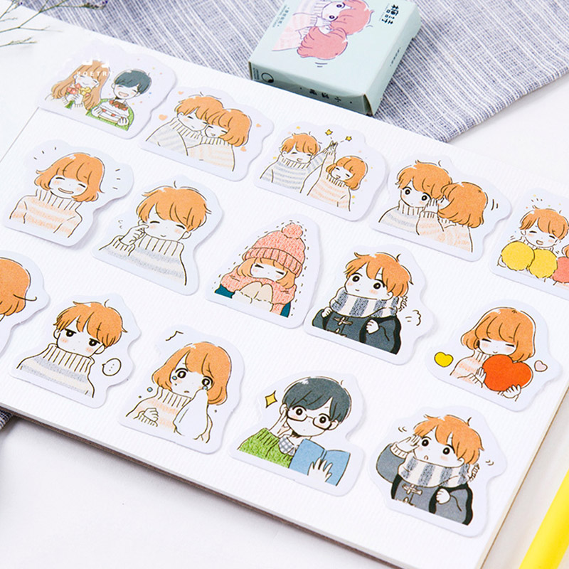 45 pcs/box Cute Lovely Smart Warm PVC Stickers Decorative Kawaii Sticky Paper School Supplies For Decoration Diary Stationery45 pcs/box Cute Lovely Smart Warm PVC Stickers Decorative Kawaii Sticky Paper School Supplies For Decoration Diary Stationery