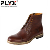 Brand PHLIY XUAN Genuine Leather Mens Boots Retro British Style Desert Boots 100% Handmade Botas Hombre Winter Boots For Men