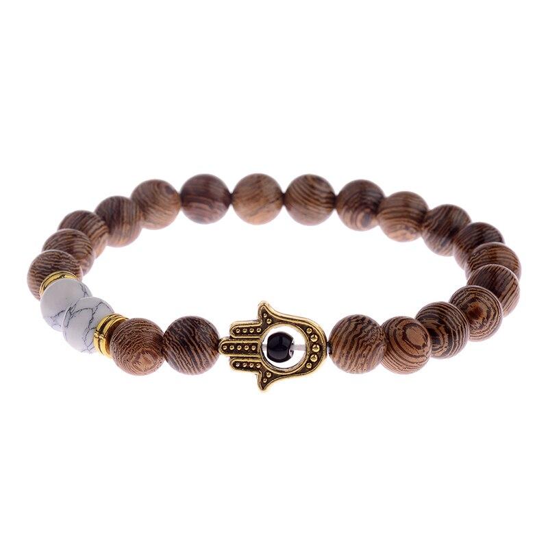 Image 5 - 2020 Ethnic Women 8mm Brown Wood Beads Bracelets Silver