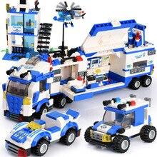 858pcs City Police Station Building Blocks DIY Car Model Block Vehicle Creator Bricks Playmobiled Toys For Children Gifts