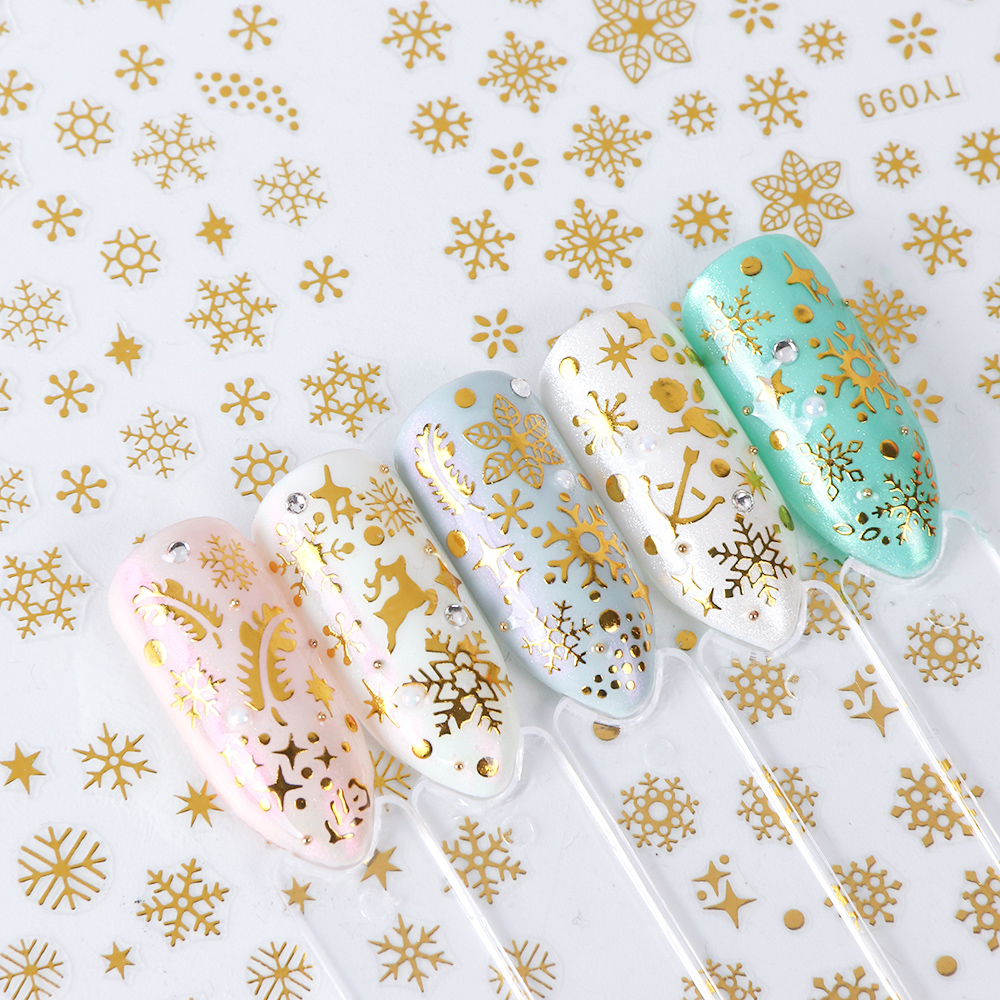 Image 4 - 12 Designs Snowflake Hollow 3D Nail Art Sticker Christmas Winter Snow Nail Wrap Decals Gold/Silver/White Manicure Decor LATY/SMY-in Stickers & Decals from Beauty & Health