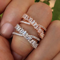 brand new Fashion AAA cubic zircon multi-layered Baguette bracelet thin bangle cuff copper base with gold for women gift