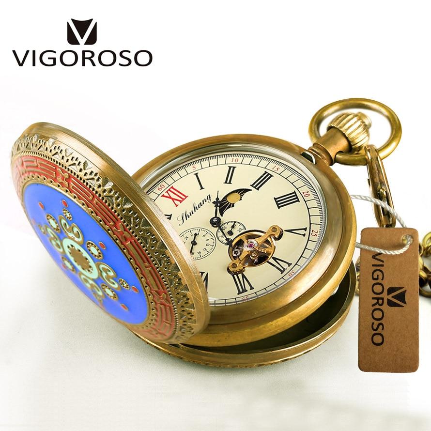 Retro Antieke Vintage Zuiver Koper Mechanische Zakhorloge Dubbele Hunter Tourbillon Zakhorloge reloj Fob Horloge Luxe Mannen W/ doos-in Zakken & Zakhorloges van Horloges op  Groep 1