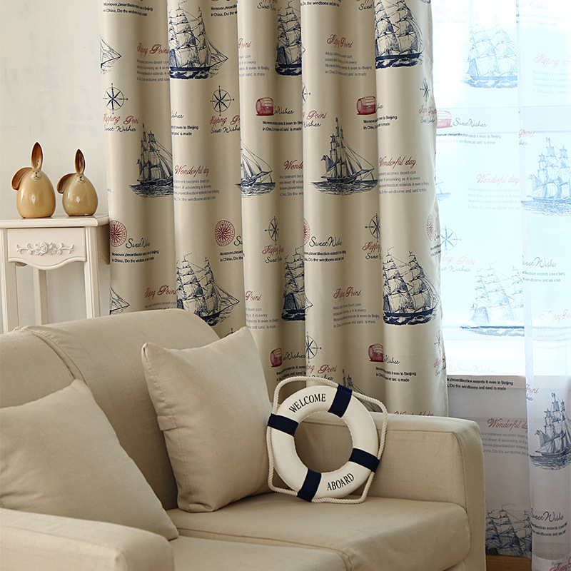 Ready Made Nautical Style Vintage Print Ship Pattern Curtains and Drapery for Living Room Bedroom Kitchen Door Window Treatments
