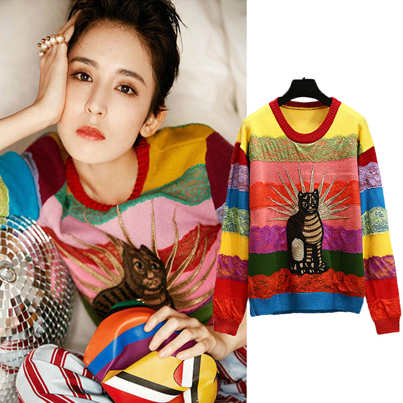 2019 Spring Animal Cat Embroidery Women Sweater Lace Rainbow Striped High Street Runway Knitted Pullovers Tops