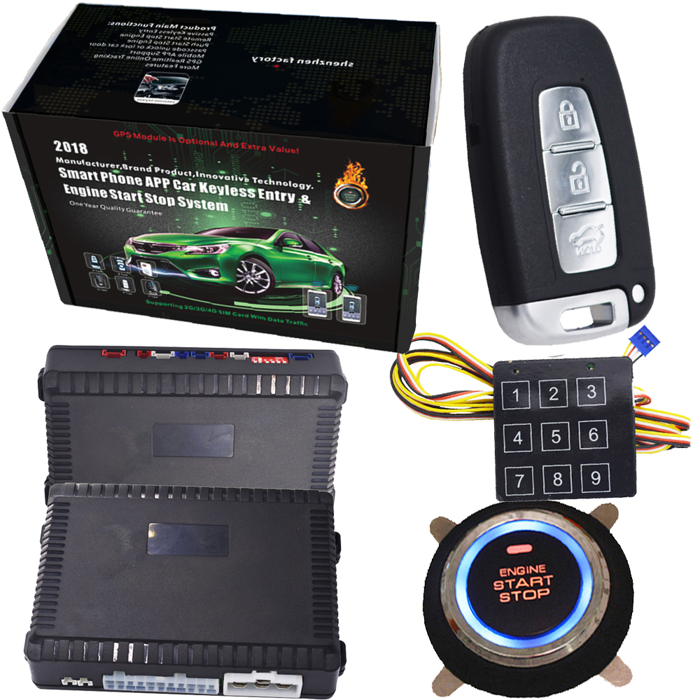 все цены на cardot Russian and portuguese Remote Vehicle PKE Start Stop Button Keyless Entry System remote engine start car alarm system