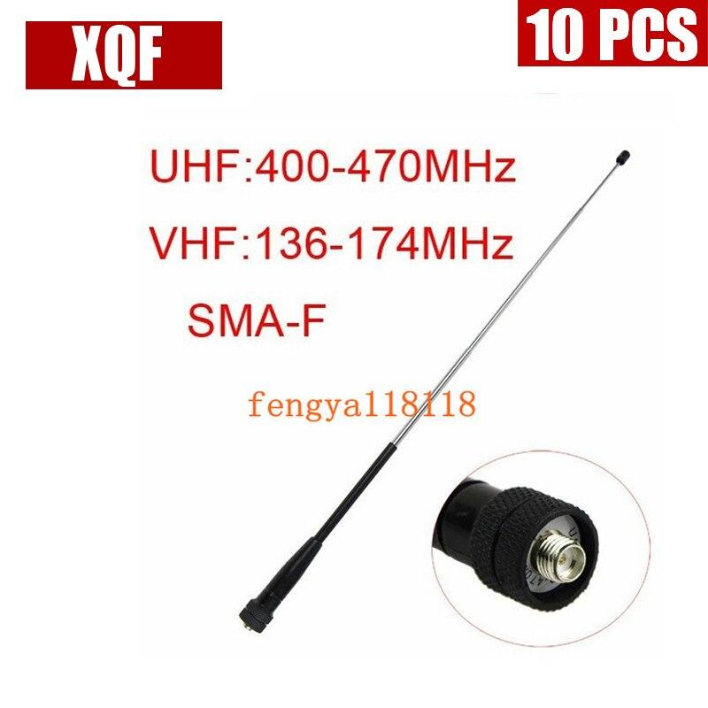 XQF 10PCS  SMA-F Female VHF 136-174MHz/UHF 400-480MHz Antenna For Kenwood TK 3107 2107 PUXING QUANSHENG H777 Two Way Radio