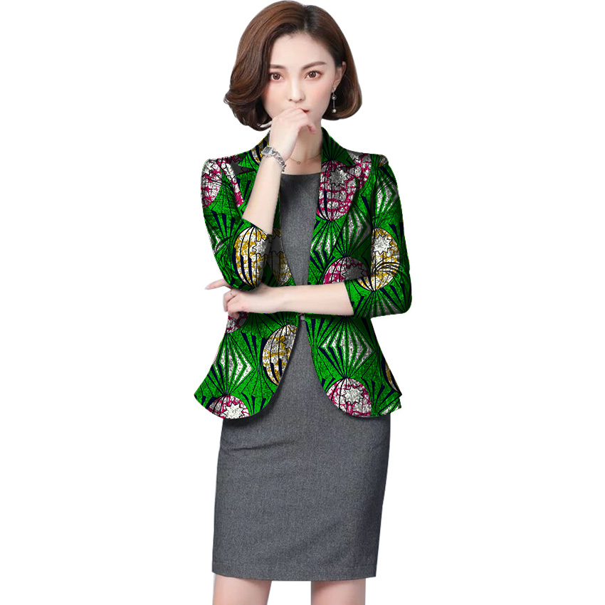 African Print Women Suit font b Jacket b font Fashion Africa Festive Ladies Formal Blazers Coat