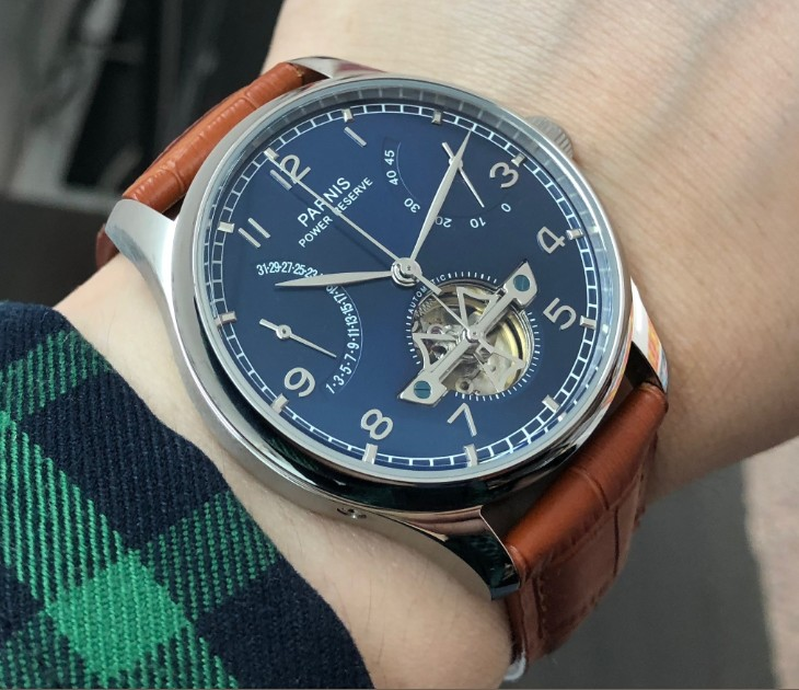 new blue dial 43mm PARNIS Automatic Self Wind mechanical movement men watches power reserve Auto date Mechanical watches 181|watches power reserve|watch power|watch men - title=