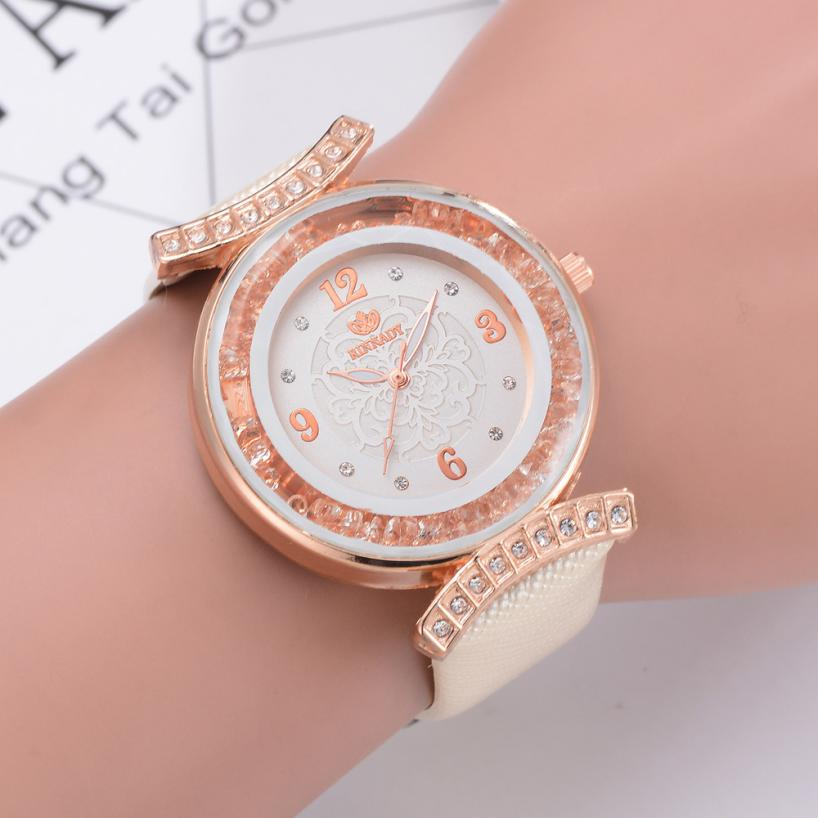 New Women 's Fashion Leather Band Analog Quartz Diamond Wrist Watch Watches women's watches with heart clock women 2018 Alloy women s stylish zinc alloy band quartz analog wrist watch golden red 1 x 626