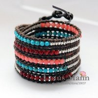 2011 bestseller 5 wrap coral and semi precious bracelet on brown leather with wholesale and retail