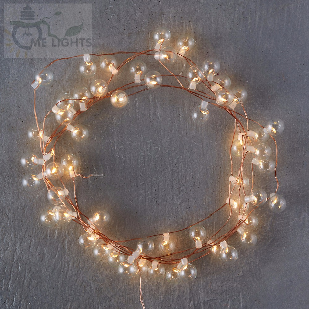 50 LED Copper String Bulbs Glass Bubble Gerlyanda Decorative Christmas Festoon Lights For Holiday Home Decoration Garland