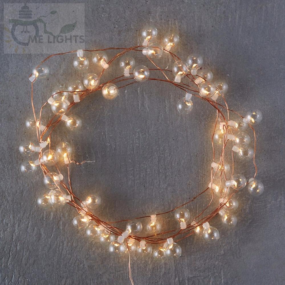 50 led cobre string bulbos de vidro bolha gerlyanda decorativo festão de natal luzes para o feriado casa decoração guirlanda