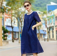 Spring and summer lady Women clothing New loose short sleeve Sequined beads fashion A line 100% real silk long dresses M24