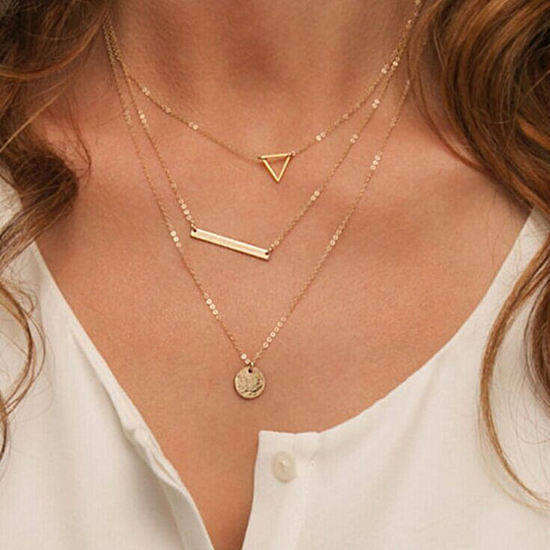 N614 2018 Summer Multilayer Necklaces Triangle Round