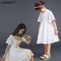 Mom Daughter Clothing Summer Short Sleeve Lace Girls Dresses Mother Daughter Princess Costume Family Look Girl