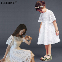 Mom Daughter Clothing Summer Short Sleeve Lace Girls Dresses Mother Daughter Princess Costume Family Look Girl Mother Vestidos