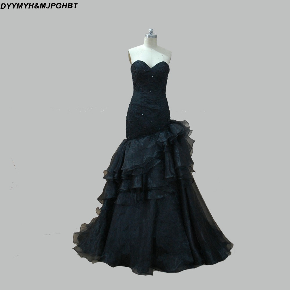 Gothic wedding shop - Gothic Black Wedding Dresses Sweetheart Organza Tiered Chapel Train Mermaid Perals Beading Bridal Gown China