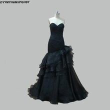 DYYMYH&MJPGHBT Gothic Black Wedding Dresses Chapel Train