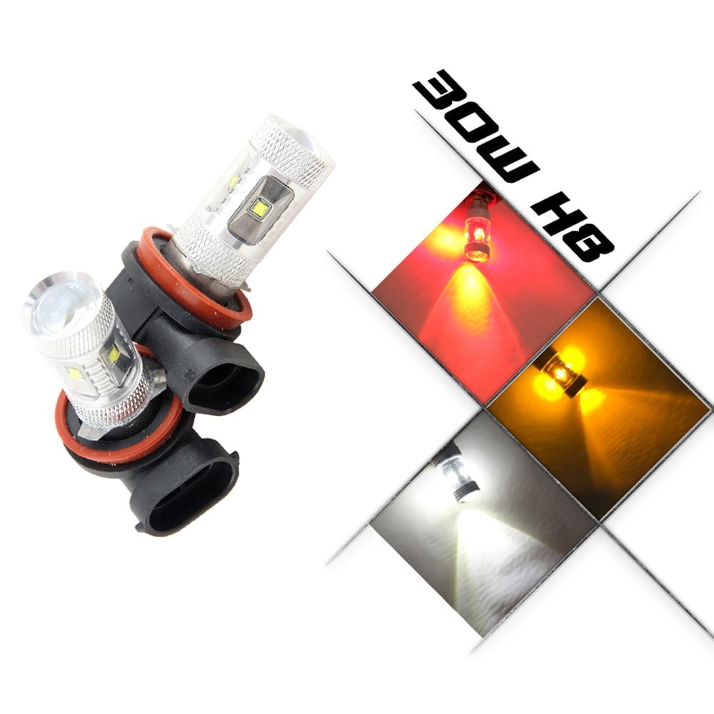 H11 PGJ19-2 bulbs Cree LED Chips High Power 30W Car DRL Daytime Running Light Fog Lamp Source parking H8 H9 12V 6000K White