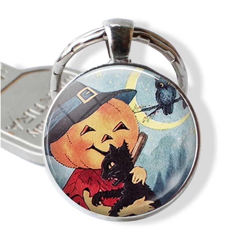 Halloween bruxa abóbora gato chaveiro pingente masculino feminino moda truque ou tratar chaveiro bruxa jóias festa de halloween presente