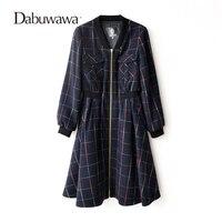 Dabuwawa Màu Xanh Đậm Mùa Đông Ấm Áp Cashmere Kẻ Sọc Áo Len Áo Phụ Nữ A Line Long Áo Manteau Femme Hiver