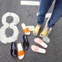 купить Women Slippers Jelly Sandals Flat Transparent Slippers Clear Slides Anti-slip Platform Flip Flop Outside Casual Beach Shoe по цене 964.86 рублей