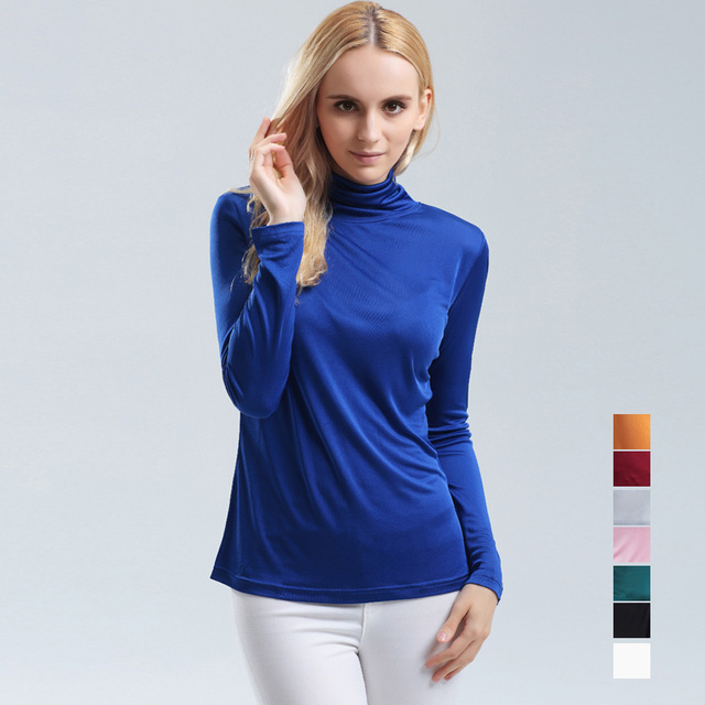 100% pure REAL SILK women base knitted long sleeve T shirt TURTLENECK heaps collar camisetas femininas undershirt Large size NEW