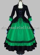 Gothic Black and Green Victorian Dress Halloween Masquerade Ball Themed Costume