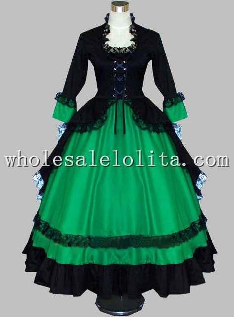 Gothic Black And Green Victorian Dress Halloween Masquerade Ball