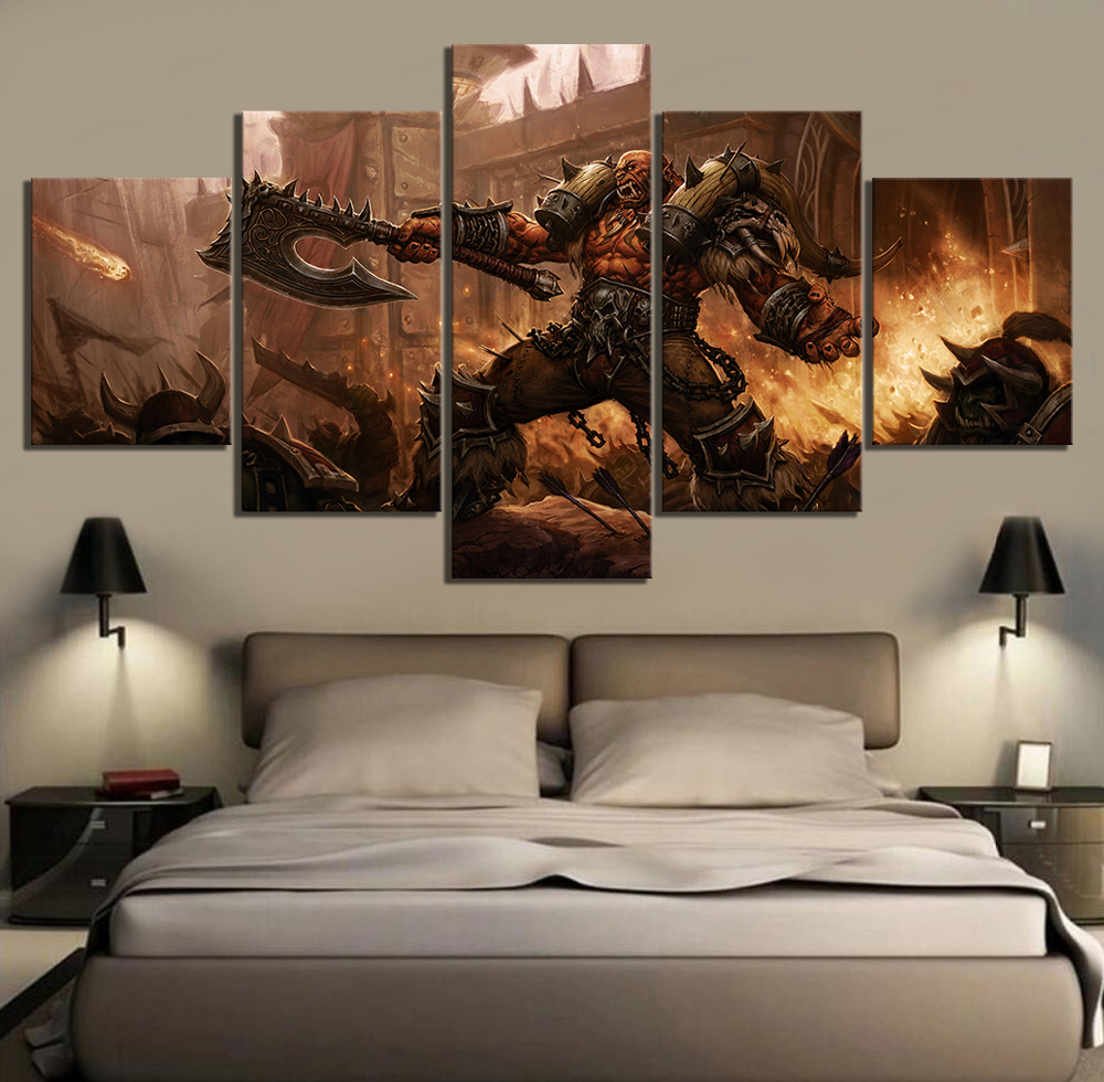 5 Piece World of Warcraft Garrosh Hellscream Game Poster Canvas Oil Painting Wall Art for Living Room Decor 1