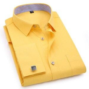 Мужские французские запонки, рубашки с длинными рукавами, черные, белые, синие, желтые, с отворотом, мужская деловая рубашка, подходит для св...