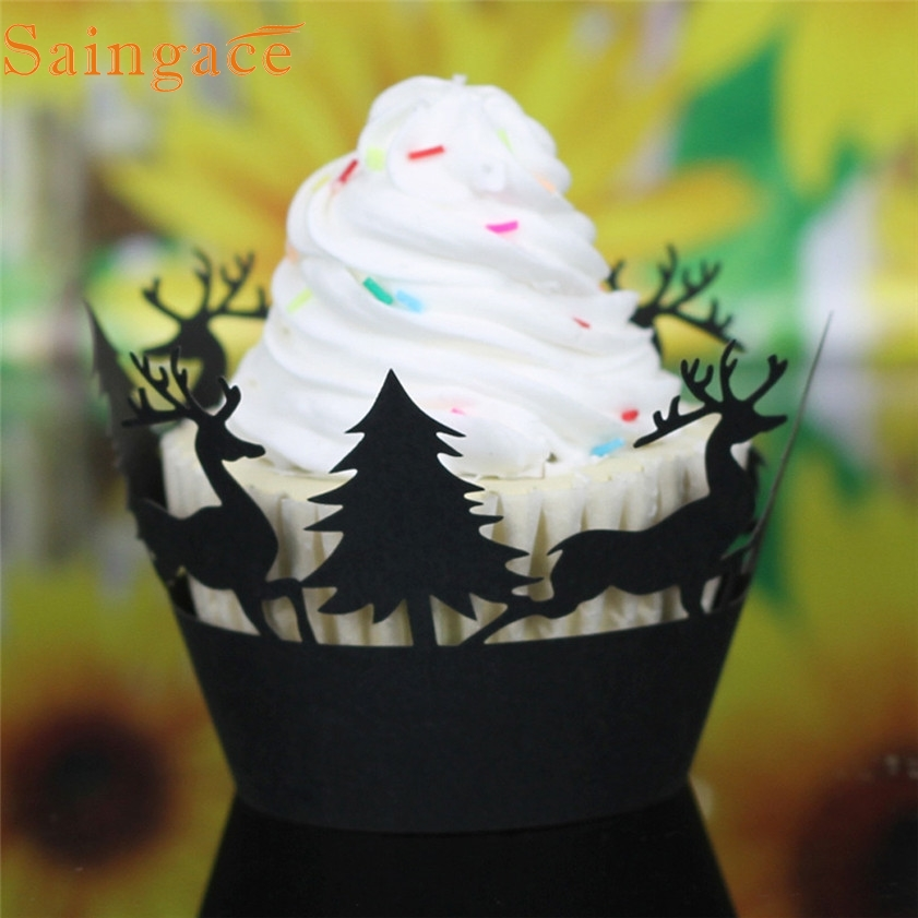24Pcs Hot Christmas Hollow Lace Cup Muffin Cake Paper Case Wrap Cupcake Wrapper