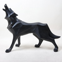 Totem Abstract Wolf Dog Statue Sculpture Geometric Resin Furnishing Home Decoration Accessories Modern Christmas Gifts Crafts