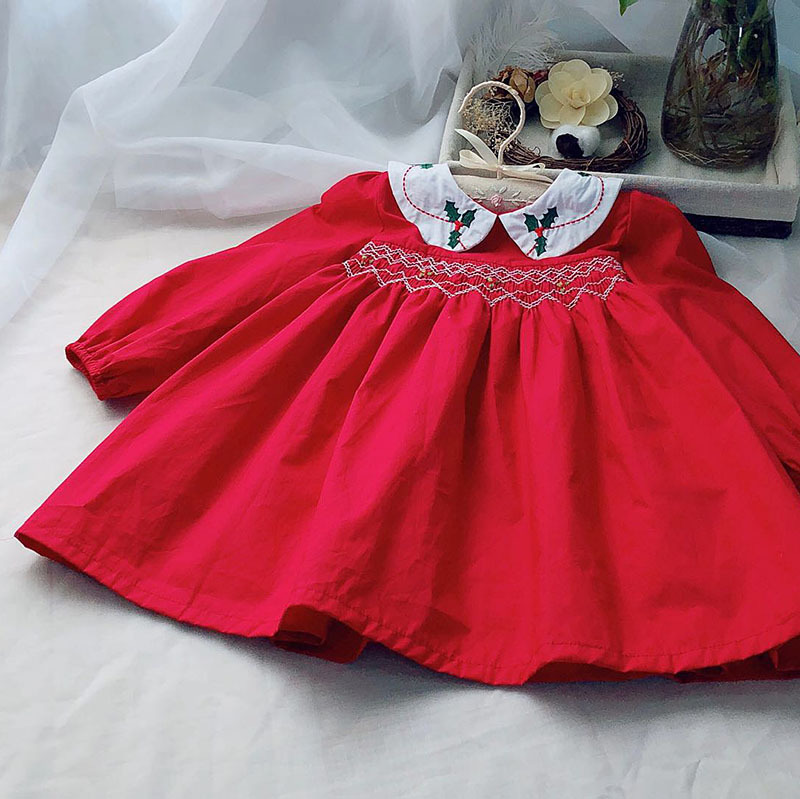 Baby Smocking Dress Baby Peter Pan Collar Christmas Dress Long Sleeve Red Color Embroidered Boutique Infant Dresses