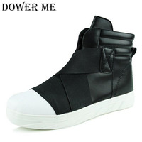 Newest Mens Fashion Leather Casual High Top Ankle Shoes Fashion Shoes Hip Hop Men