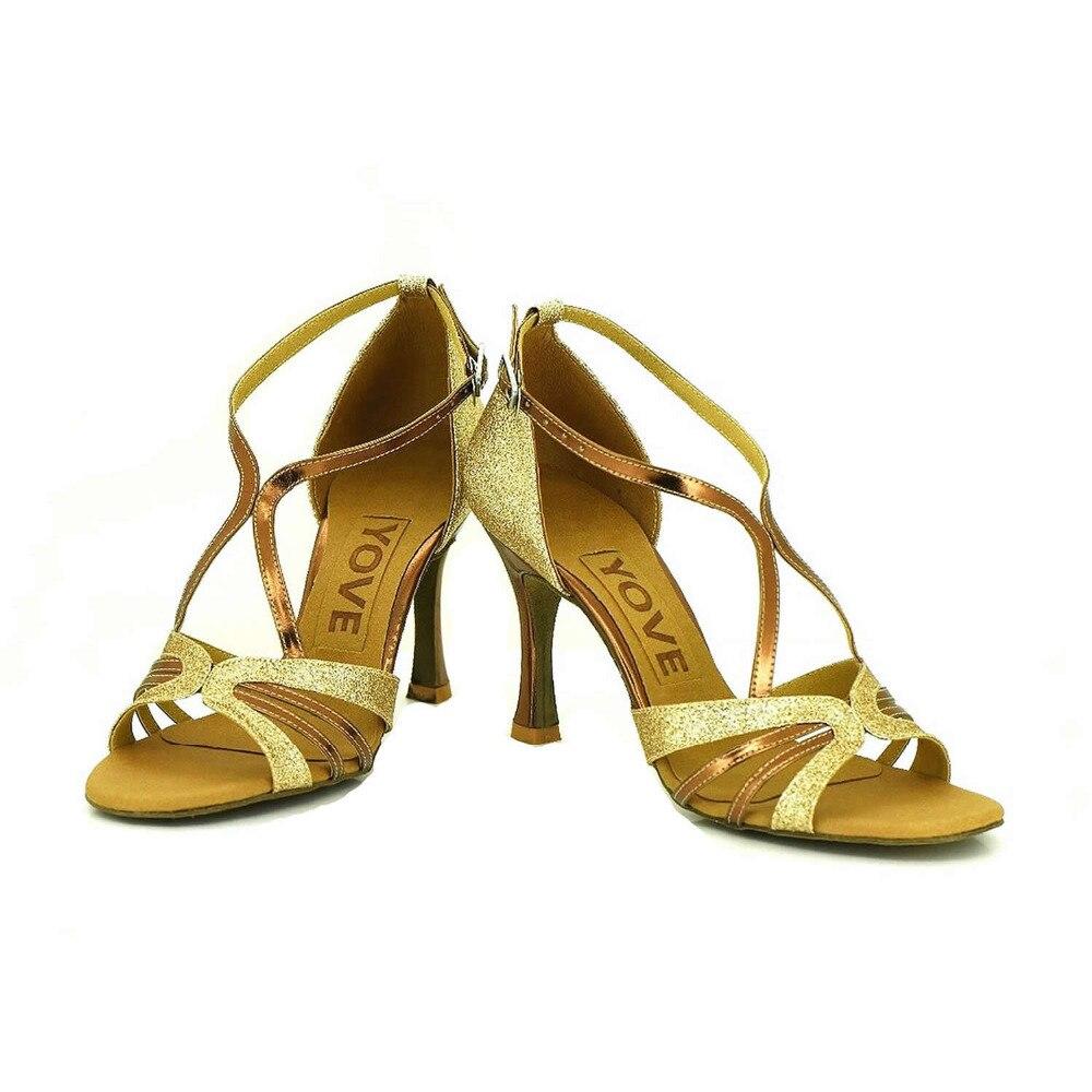 YOVE Customizable Latin font b Salsa b font Sequined Cloth Dance font b Shoes b font