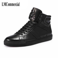 Winter Leather Shoes Wholesale Metal Skull Head Men S Fashion Personality Shoes Shoes High