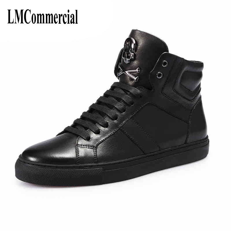 A song for Europe men's high shoes men tide skateboard shoes men shoes all-match white shoe trend of Korean hip-hop the fall of new men s casual shoes leather trend of korean youth all match low men shoes