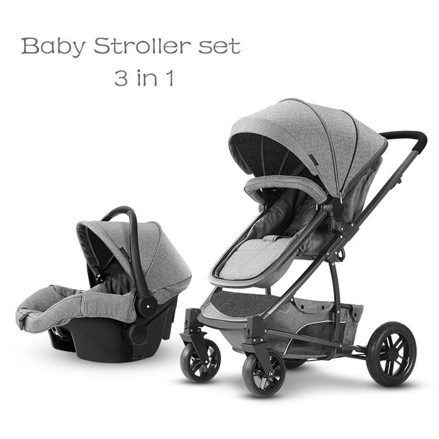 High Landscape Baby Stroller Bassinet Sitting And Lying Pram With Car Seat Carry Cot Dual