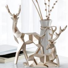 17*6,5*18CM Gold creative lucky animal head mannequin body deer resin craft jewelry geometric home Wedding Resin 1set A331