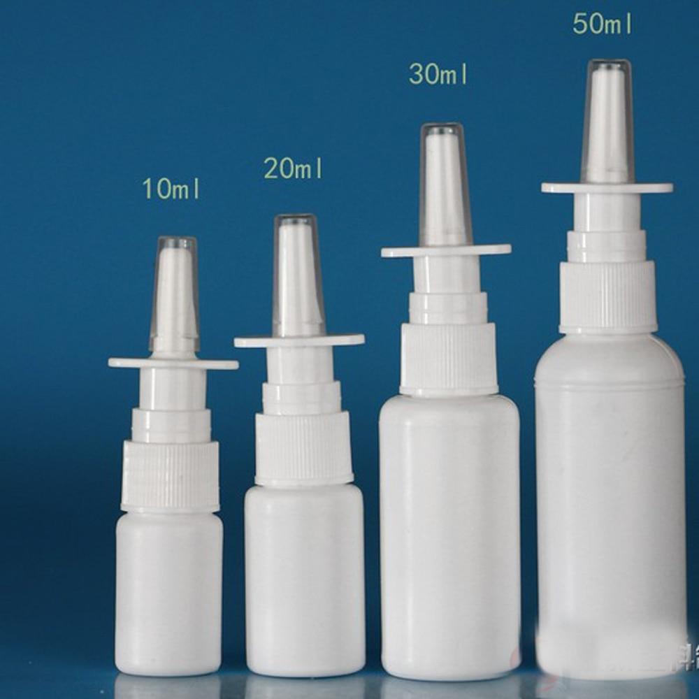 2Pcs 10ml White Bottle Plastic Nasal Spray Bottles Pump Sprayer Mist Nose Spray Refillable Bottles For Medical Packaging RB25