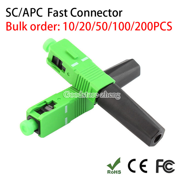 SC APC Fast Connector Embedded Connector FTTH Tool Cold Fiber Fast Connector SC/APC 10/20/50/100/200 pcs