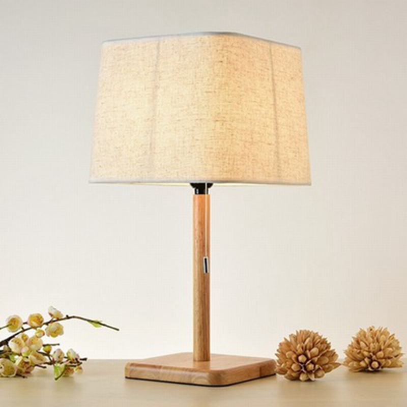 LukLoy Nordic Style Wood Fabric Art LED Desk Lamp Simple LED Table Lamp Bedroom Study Office Table Light Dormitory Read Lighting simple solid wood desk lamp table lamps bedroom atmosphere lamp nordic style decorative lighting lamp