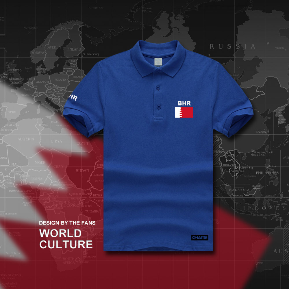 bahrain flag red and blue striped polo shirt