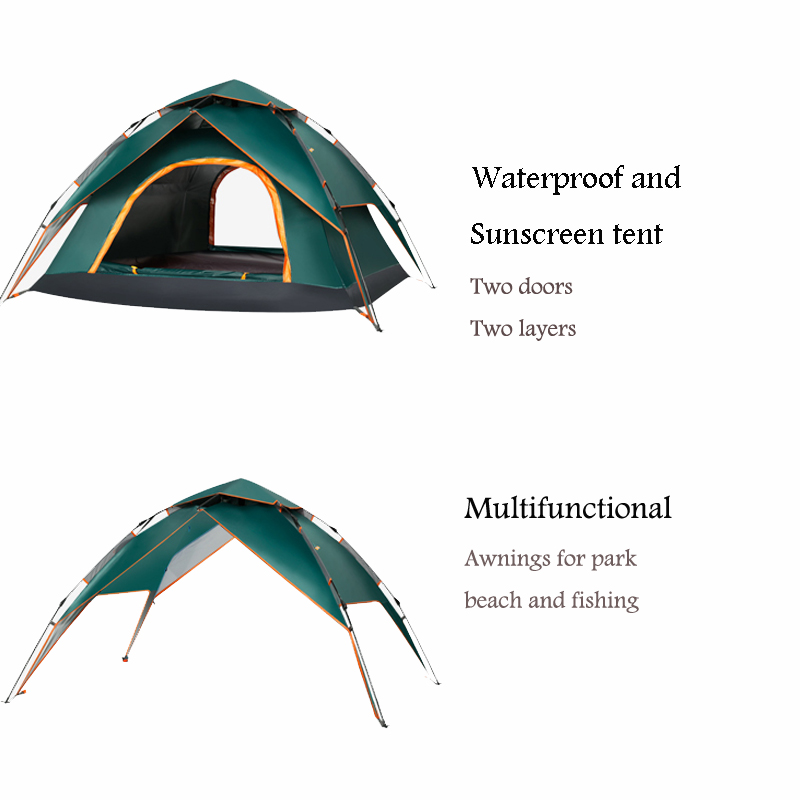 3-4 Person Automatic Pop Up Tent Double Layers Waterproof Camping Tent Outdoors Camping Equipment Fishing Tents Outdoor 1
